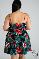 Miley Tropical Floral Flare Dress