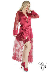 Modern Love Merlot Satin Robe
