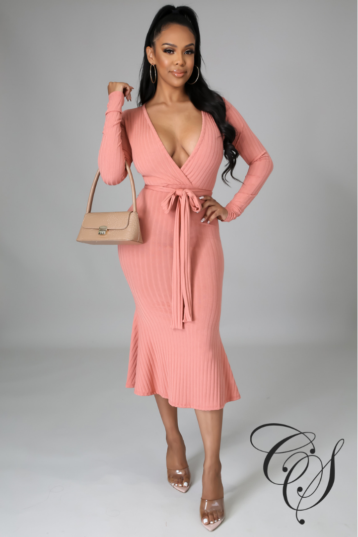 Monica Belted Knit Midi Dress