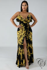 Monica Golden Leaves Wrap Dress, Dresses - Designs By Cece Symoné