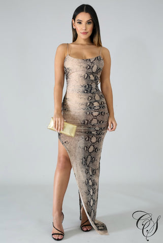 Nancy Sheer Snake Scrunched Slit Dress