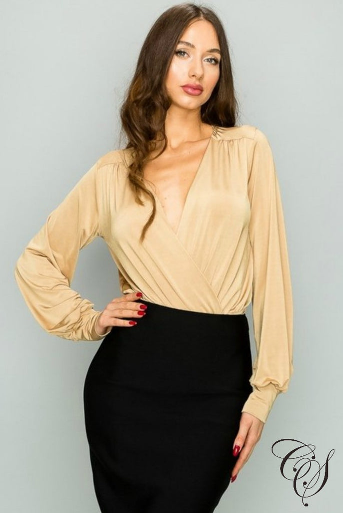 Riya Back Gathering With Layered Surplice Bodysuit