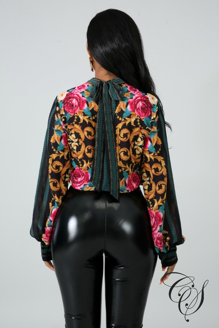 Rosalyn Sheer Chevron Floral Bodysuit, Top - Designs By Cece Symoné
