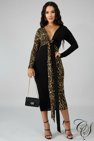 Rylee Leopard Front Bow Midi Dress