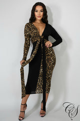 Rylee Leopard Front Bow Midi Dress, Dresses - Designs By Cece Symoné