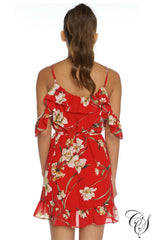 Rylee Ruffle Floral Wrap Mini Dress