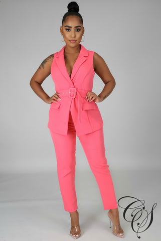 Sarah Sleeveless Business Pant Set