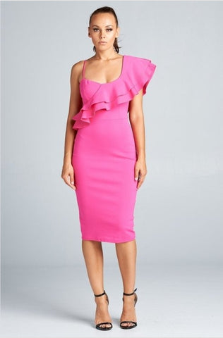 Anniversary Collection: One shoulder ruffled dress (Hot Pink)