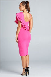 Anniversary Collection: One shoulder ruffled dress (Hot Pink), Dresses - Designs By Cece Symoné