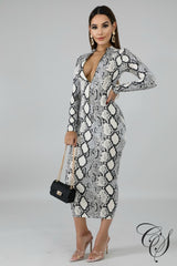 Skylar Monochrome Snakeskin Dress, Dresses - Designs By Cece Symoné