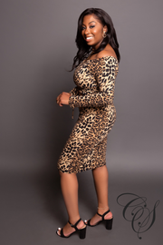 Sophia Leopard Off The Shoulder Top + Skirt Set