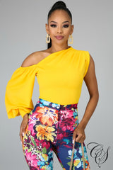 Tammi One Shoulder Puff Sleeve Top, Top - Designs By Cece Symoné