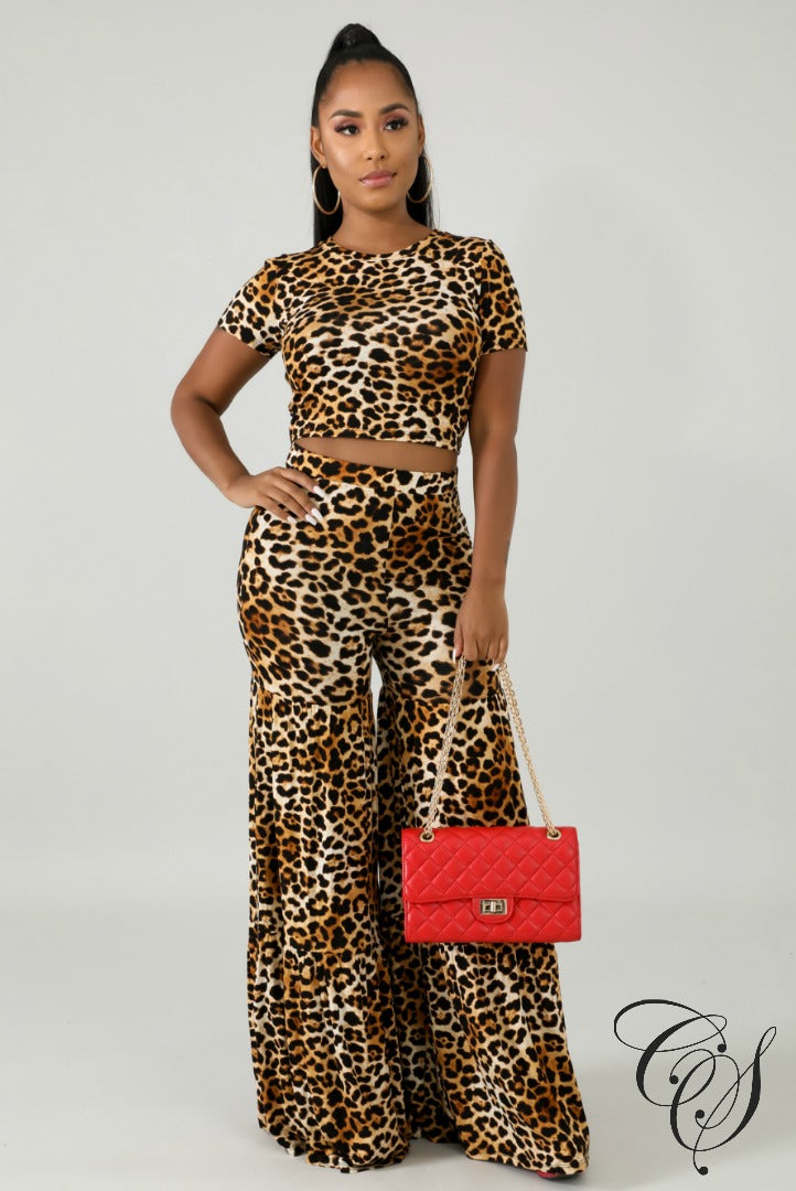 Tasha Cheetah Palazzo Pants Set, Dresses - Designs By Cece Symoné