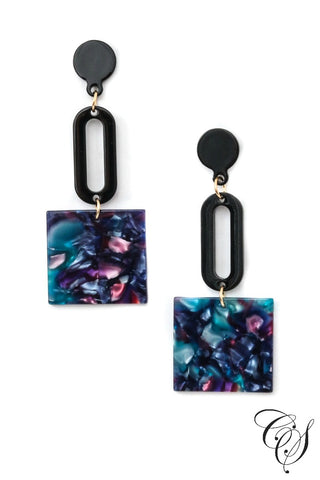 Tiered Acetate Square Drop Earrings
