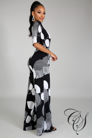 Toni Monochrome Surplice Jumpsuit