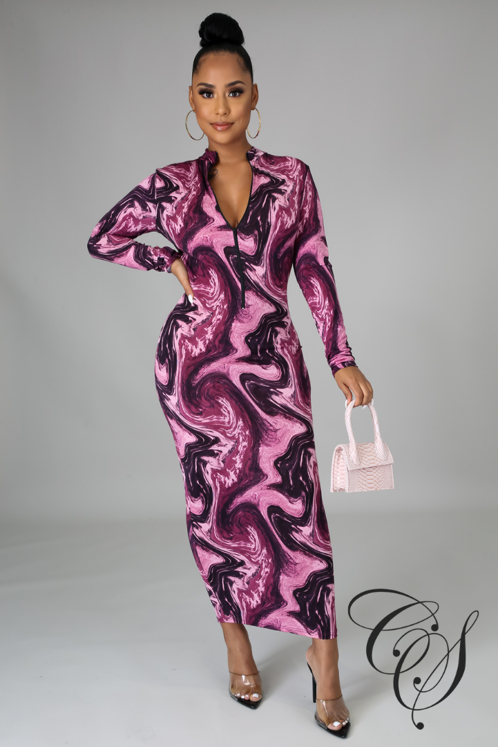 Naya Marble Print Bodycon Dress