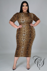 Jayde Mock Neck Leopard Dress