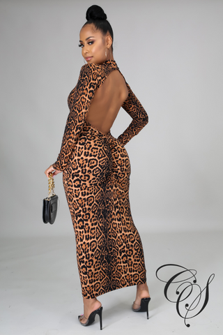 Alayna Leopard Print Open Back Bodycon Dress