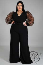 Riley Long Leopard Organza Sleeve Jumpsuit