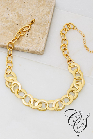Mya Flat Hammered Casting Linked Loop Chain Necklace