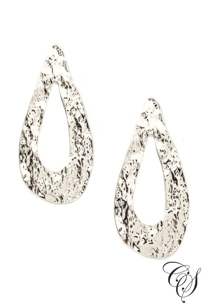 Wide Dented Tear Shape Drop Earrings, earrings - Designs By Cece Symoné