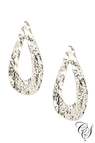 Wide Dented Tear Shape Drop Earrings