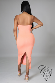Yolanda V-Neckline Strappy Midi Dress