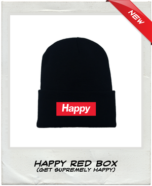 Happy Knit Beanie | Red Box - Under the Influence of Happiness