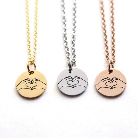 Hand Heart Disk Necklace