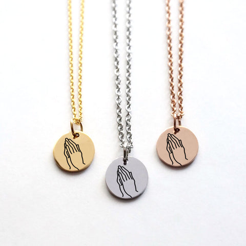 Prayer Hands Disk Necklace