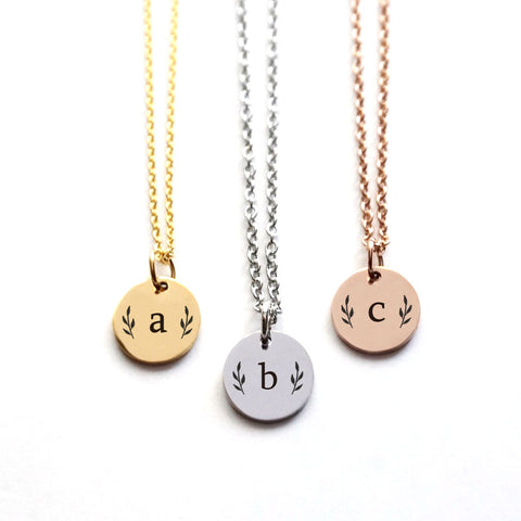 Custom Initial Disk Necklace