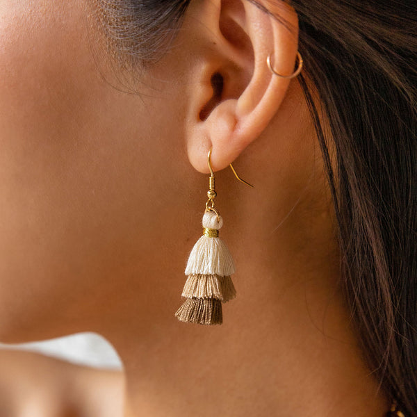 Cappuccino Tassel Earrings