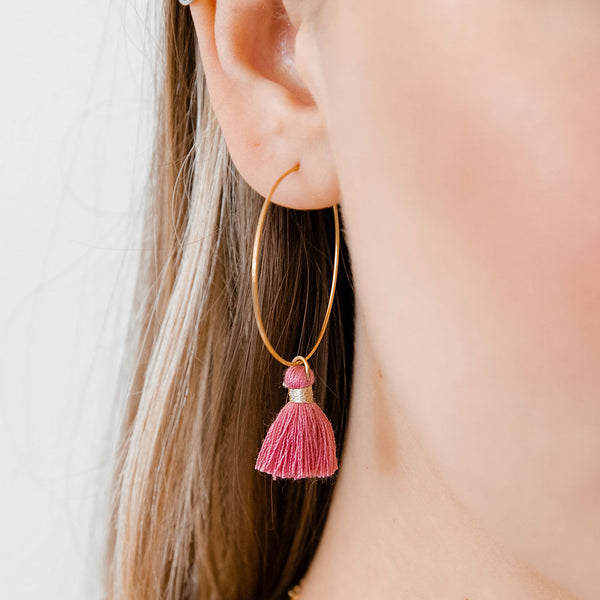 Flamingo Tassel Hoops