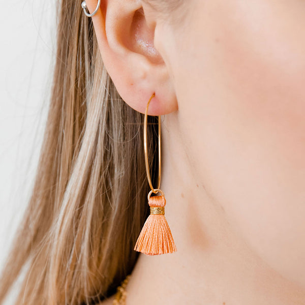 Salmon Tassel Hoops