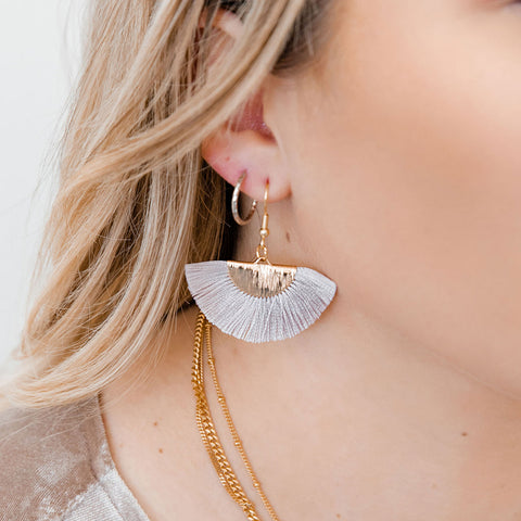 Light Gray Fan Earrings