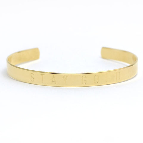 Stay Gold Adjustable Brass Cuff Bangle