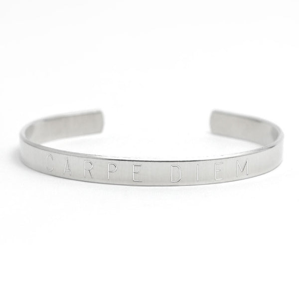 Carpe Diem Adjustable Cuff Bangle