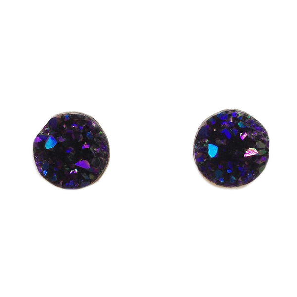 Midnight Blue Faux Druzy Stud Earrings