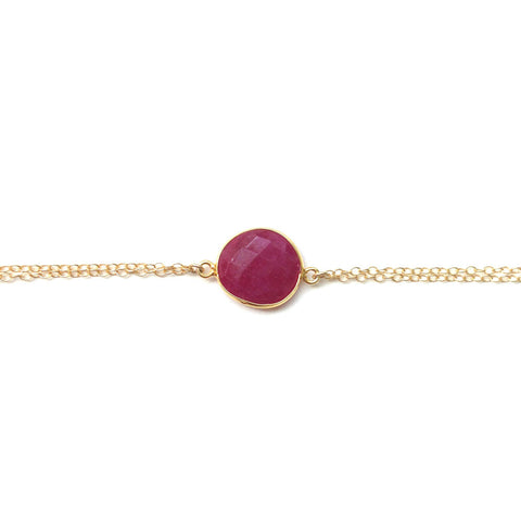Dyed Ruby Gold Filled Bracelet