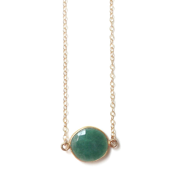 Emerald Pendant Gold Filled Necklace