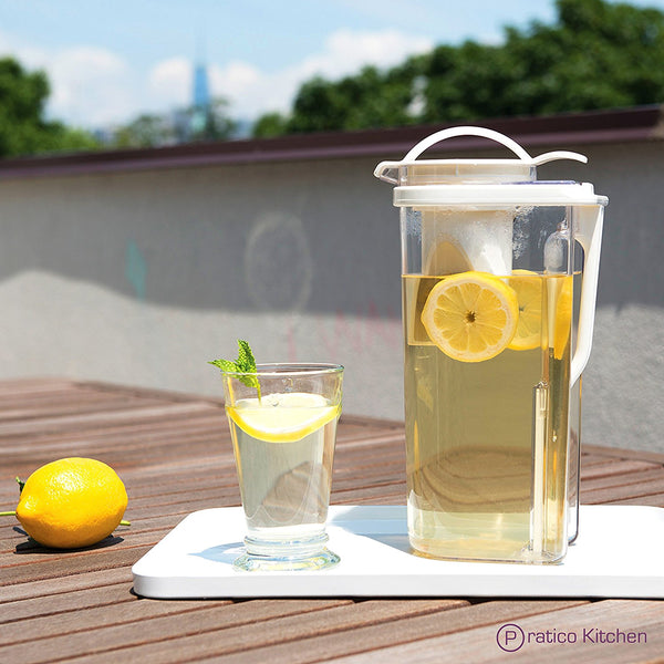 Low Profile Tea Pitcher with Removable Tea Strainer