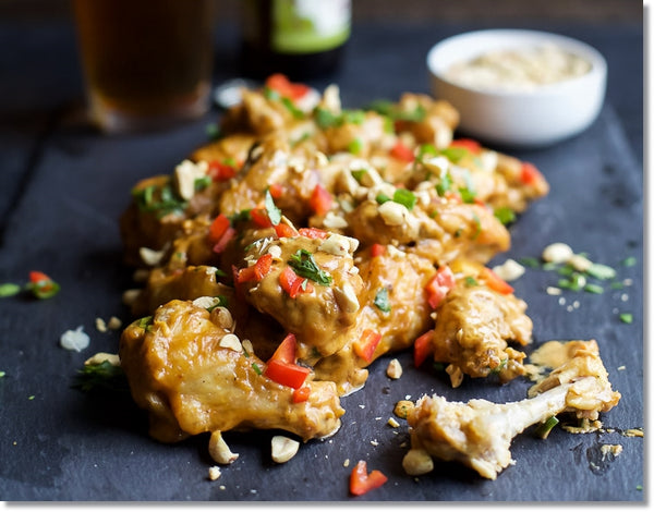 baked chicken wings with a thai peanut sauce