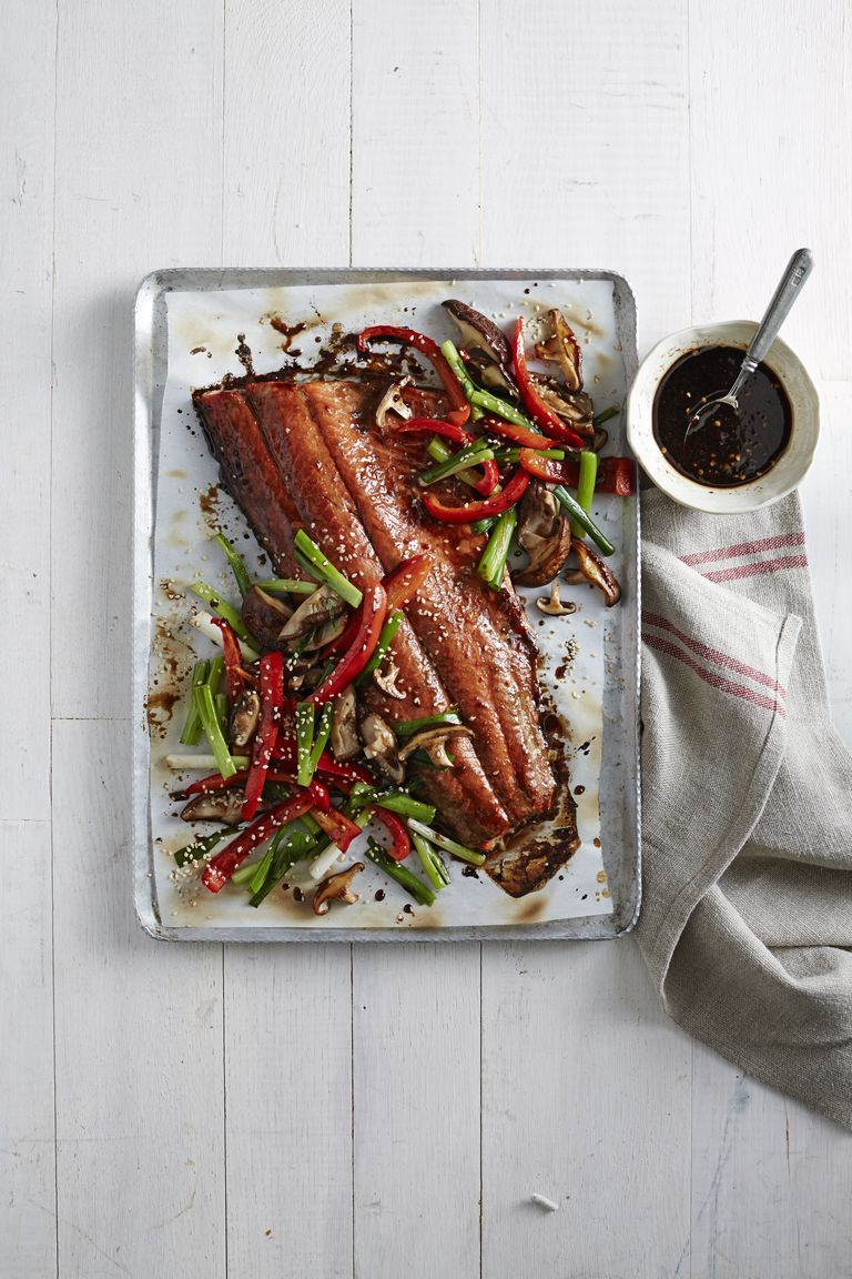 Honey-Soy Glazed Salmon with Mushrooms and Peppers