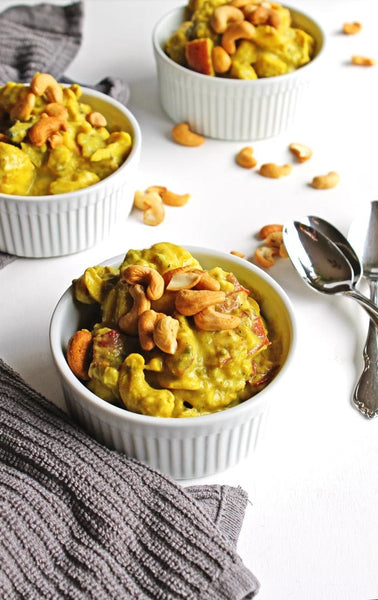 Coconut curry cauliflower stew with potatoes and cashews