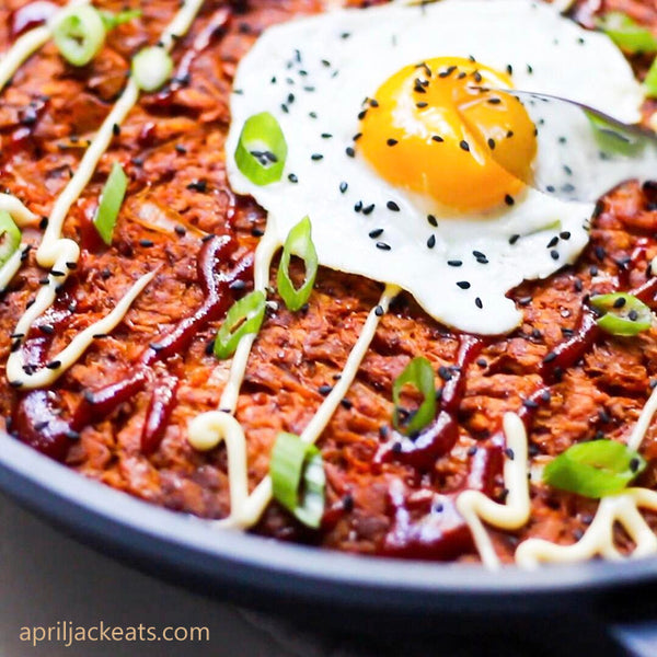 Egg Recipes - Spicy Korean Sweet Potato Pancakes