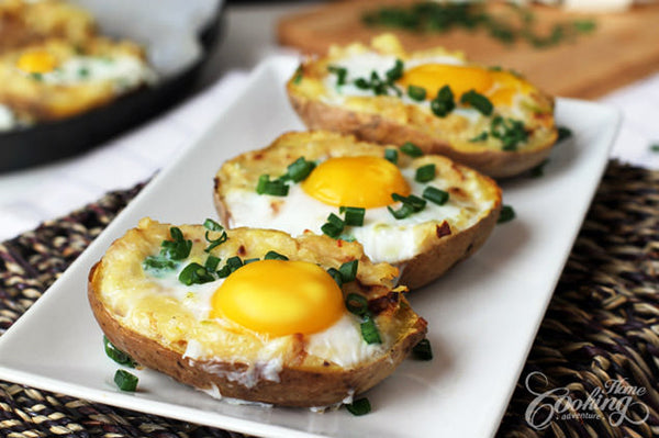 Egg Recipes for Easter Sunday - Twice Baked Potato with Eggs on Top