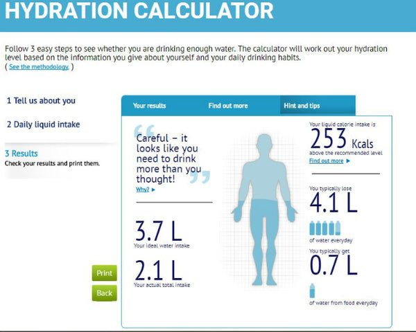 Increase Your Water Intake - Hydration Calculator