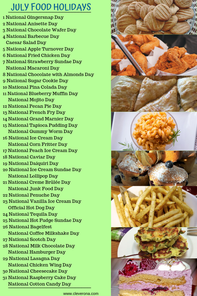 July Food Holidays graphic
