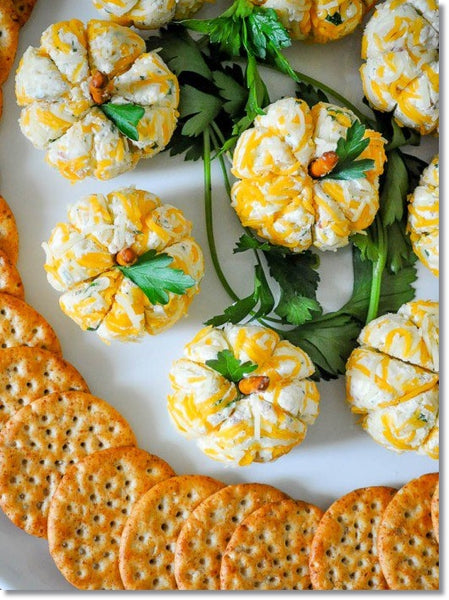 mini pumpkin-shaped cheese balls