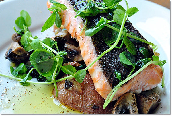 Truffle Oil Roast Salmon and Mushrooms
